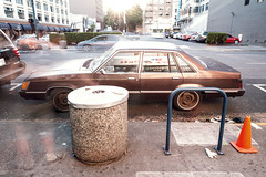 1984 Mercury Marquis (Curtis Gregory Perry) Tags: brown car bike oregon sedan portland garbage nikon automobile traffic mercury cone can rack 1984 avenue 3rd marquis 84             d800e