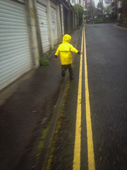 School Run Rituals (The Double Yellow Line Race)_03 (a roving eye) Tags: boy yellow brighton child run doubleyellowlines iphone paulmansfield schoolrun arovingeye