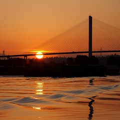 Let There Be Light (gordeau) Tags: morning bridge orange sun square gordon fraserriver ashby alexfraser explored unanimous flickrchallengegroup flickrchallengewinner thechallengefactory gordeau
