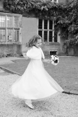 Bridesmaid Twirl (Louise Martin Photography) Tags: wedding blackandwhite cute fun blackwhite dance pretty dress spin twirl bridesmaid oldfordehouse