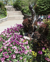 Peter Pan Statue, Carl Schurz Park, Yorkville, New York City (jag9889) Tags: park city nyc flowers ny newyork art fountain statue work peterpan bloom eastside yorkville carlschurz 2013 jag9889