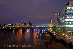 LondonBridge 042 E W (laurencemackman) Tags: lighting longexposure bridge england london cars architecture modern night reflections londonbridge concrete photography lights twilight traffic piers architect historical elevation riverthames span streamline londonskyline theshard motthayandanderson lordholford