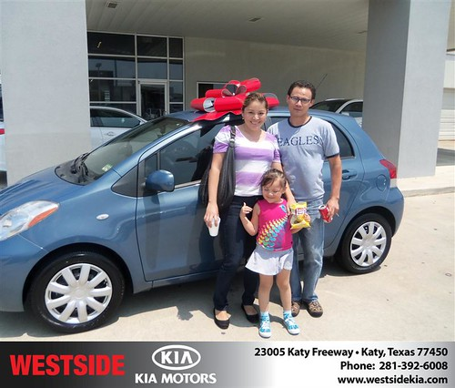 Westside Kia would like to say Congratulations to Elmer Sanchez on the 2009 Toyota Yaris