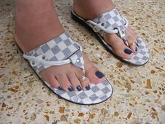 DSCF0747 (sandalman444) Tags: male feet foot long sandals painted mens pedicure toenails toerings