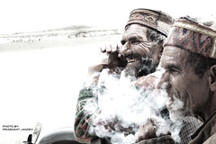 Smoke and A Smile (jandev10) Tags: life people india happy lumix village faces smoke smiles panasonic simple himachal kullu banjar kullucap parbativalley