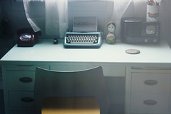 (provincijalka) Tags: summer vacation typewriter radio phone ishootfilm curtains praktica organized hideaway bythewindow basementoffice noclutter schoolisout vintageblue neatdesk provincijalka readyforcoffee soiswork