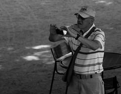 Grandpa with Smartphone. 2 (EOS) (Mega-Magpie) Tags: camera people bw usa white black smart america canon outdoors eos illinois phone grandfather arboretum grandpa il smartphone morton lisle the 60d