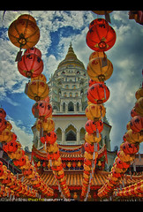 Kek Lok Si Buddhist Temple - Penang, Malaysia (Sam Antonio Photography) Tags: china new city travel blue light red vacation sky cloud tourism lamp yellow vertical horizontal architecture writing paper outdoors temple photography design ancient worship asia day order antique buddha background character buddhist traditional si religion chinese monk buddhism nopeople fortune east luck lucky malaysia hanging lantern penang language calligraphy tradition celebrate decorate cultures variation attraction kek inarow lok chineselantern kekloksitemple traveldestinations colorimage lowview buildingexterior nationallandmark lowangleview penangstate penangmalaysia malaysianculture builtstructure canoneos5dmarkii tigereconomy samantoniophotography southeastasiaphotography kekloksitemplepenangmalaysialargestbuddhisttemple