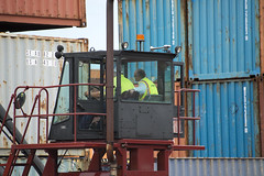 Brian Taylor Views Container Stacker at Portus (JAXPORT) Tags: digital port nikon industrial florida labor cargo safety container commercial transportation chamber jacksonville worker fl shipping jax fla freight employee logistics stacker portus marineterminals jaxport blountisland jaxusa