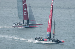 Kiwis lead Italy (SBGrad) Tags: sanfrancisco newzealand sailing yacht sanfranciscobay prada americascup louisvuitton pirana lunarossa alr louisvuittoncup 300mmf28dii 2013 flyemirates d300s tc20eiii