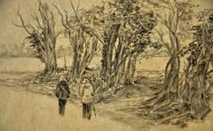 Autumn walk (amanda.parker377) Tags: autumn trees people walking fields drawingsketch derwentgraphitepencils