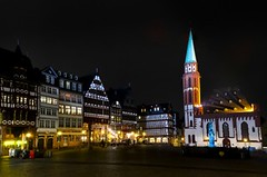 Romerberg Square and Alte Nikolaikirche at night, Frankfurt am Main, Germany (Sir Francis Canker Photography ©) Tags: christmas plaza xmas longexposure trip travel panorama tower history tourism church skyline architecture night germany square landscape deutschland europa europe european cathedral cityhall euro frankfurt landmark visit icon tourist medieval illuminated rda vista nocturna alemania townhall bluehour piazza typical visiting timer allemagne gdr icono oldhouses frankfurtammain parvis germania alstadt reunification timberhouses pacocabezalopez sirfranciscanker