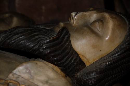 Brewood, Staffordshire, Church of St. Mary & St. Chad, monument to Sir John Giffard †1556 æt.s. 90 & his 2 wives Jane & Elizabeth, detail: his head