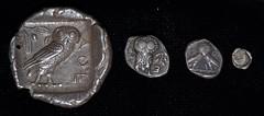 A selection of Athenian denominations, horizontal (Rob Sing) Tags: silver coins athenian tetradrachm diobol triobol tetartemerion