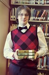 (MeganRosalyn*) Tags: portrait fashion reading book library bowtie books read sweatervest classy nikond90
