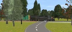 Trainz Simulator 2012 (JaiJad) Tags: bridge trees santafe grass train route trainengine southernpacific traincars gradecrossing trainzsimulator2012
