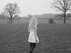 (emstra.) Tags: trees winter portrait people bw white cold me nature girl field germany hair day village dress legs body north young blond teenager