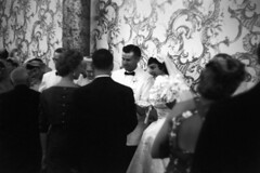 083659 01 (ndpa / s. lundeen, archivist) Tags: flowers wallpaper people blackandwhite bw woman man film monochrome 35mm groom bride blackwhite veil nick bowtie august tuxedo 1950s bouquet weddingparty gown weddingdress tux blacktie weddingreception 1959 unidentified formalattire dewolf bridalgown receivingline whitetuxedo nickdewolf receptionline photographbynickdewolf locationunidentified