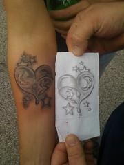 grey ink heart n stars tattoo on forearm (tattoos_addict) Tags: tattoo ink stars grey heart o n forearm tatt startattoo