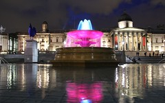 Trafalgar Square by night (Patrizia Ilaria Sechi) Tags: uk pink blue england sky london water fountain by night reflections square colorful gallery trafalgar places cock lord muse national historical nights dreamy monuments magical nocturne plinth fritsch katharina jellicoe hahncock