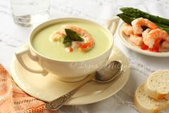 Delicious cream soup with asparagus and shrimp (Iryna Melnyk) Tags: food orange white fish hot color green cooking closeup dinner studio lunch cuisine soup photo healthy focus shot dish natural eating background napkin traditional cream plate shrimp nobody spoon bowl vegetable gourmet delicious photograph asparagus meal vegetarian seafood appetizer spicy diet creamy garnish prawn delicacy selective prepared asparagussoup creamofasparagussoup