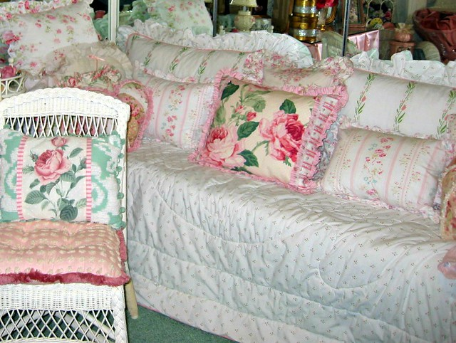 pink floral soft girly pastel dreamy daybed pinkgreen wickerchair shabbychic lauraashley lauraashleybedding
