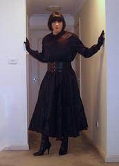 Reinventing A Governess (3) (Furre Ausse) Tags: black leather belt boots skirt blouse satin mistress blazer domme domina governess gouvernante