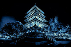 The Glowing Pagoda - Japanese Manga Inspired Rendering (NYRBlue94) Tags: world blue light lake anime building tower japan night mouse japanese evening pagoda sketch orlando epcot community experimental comic angle florida wide manga disney mickey prototype comicbook vista pavilion glowing tomorrow showcase hdr buena