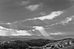 Little Ormes Rays (stumpyheaton) Tags: uk light sky sun white mountain black wales clouds landscape outside mono nikon little rays conwy orme d5100