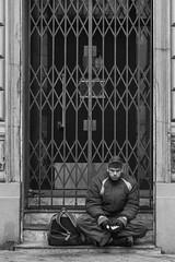 Sitting and waiting (svenduplic) Tags: street portrait blackandwhite photography blackwhite sitting republic czech brno