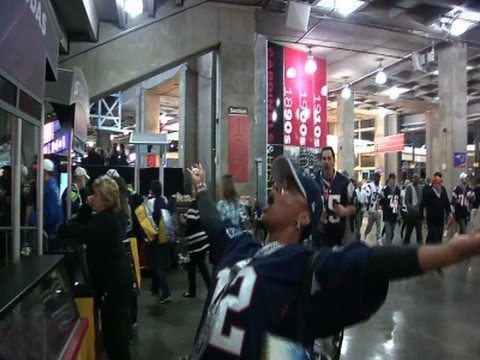 Patriots Fans at SUPER BOWL Celebrate Win