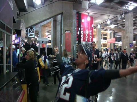 Patriots Fans at SUPER BOWL Celebrate Win