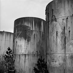 Jesus, Longbeach, Washington (austin granger) Tags: film square washington rust time decay religion jesus gasstation longbeach impermanence crucifixion tanks resurrection gf670 austingranger