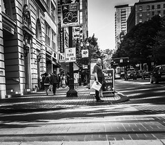 Along A Crowded Avenue (TMimages PDX) Tags: road street city people urban blackandwhite monochrome buildings portland geotagged photography photo image streetphotography streetscene sidewalk photograph pedestrians pacificnorthwest avenue vignette fineartphotography iphoneography