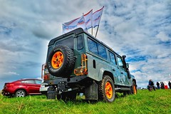 Off-road venue (michael.postin) Tags: sky nature grass car wheel clouds offroad 4x4 outdoor flags drama rangerover hdr defender offroas