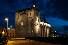 Cathedral of Trani - different perspective. (Albymus) Tags: city travel blue light sea sky italy church water architecture night clouds photography long exposure cityscape cathedral salento puglia trani