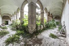 The Forgotten Monastery (suspiciousminds) Tags: abandoned overgrown religious decay murals courtyard hallway monastery urbanexploration vegetation urbex