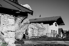 "hut on the ""Kampenwand"" (d.kaehlke) Tags: bw white black alps canon germany outside bavaria eos blackwhite rocks hut kampenwand 750d"