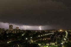 Thunder in the city (Mampfred) Tags: vienna wien austria abend licht sterreich nacht outdoor himmel wolke blitz gewitter thunder regen wetter donner donaustadt nass finster unwetter einschlag regnen