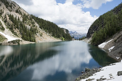 Lake Agnes - Looking Back to the Tea House (mark willocks) Tags: lake canada mountains reflections alberta alpinelake lakeagnes banffnationalpark