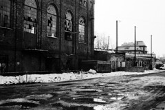 Driveway to Forgotten Industry - Elanex (Analog World Thru My Lenses) Tags: ricohxr7 rikenon50mmf14 ilforddelta100 forgotten abandoned industry elanex częstochowa