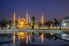 Blue Mosque,Istanbul, Turkey (Shahid A Khan) Tags: old travel blue light sky reflection history nature architecture night facade buildings turkey garden religious photography nikon gate worship europe european colours exterior image minaret islam places istanbul mosque holy photograph dome d750 sultan ottoman spirituality middle religions turkish byzantine islamic sultanahmet constantinople destinations shahidakhan sakhanphotography wwwgalleryskcom