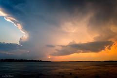 Fire Sky (59roadking - Jim Johnston) Tags: light sunset summer sky storm water weather clouds river thunderstorm 500px ifttt
