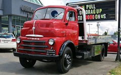 1949 Dodge COE Tow Truck (Custom_Cab) Tags: 1949 dodge coe tow truck cabover cab over engine wrecker towtruck red 25ton 25 ton willowbrook chrysler langley bc british columbia canada canadian willowbrookchrysler dealership classic towing car lot dealer bseries b series