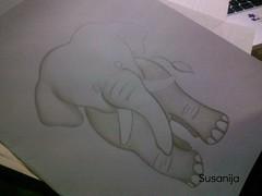 La cancin del elefante (asitico, macho) (WIP) (Susicalifragilsticaespiralidosa) Tags: wip dibujo elefante lpiz asitico preescolar