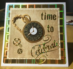 A birthday card for a man (margaret.pilkington47) Tags: handmade masculine chain cogs celebrate birthdaycard pocketwatch unfussy