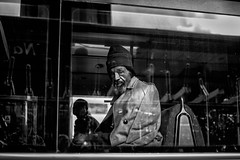 ... (instagram.com/the_big_smoke_/) Tags: blackandwhite britain bw bus window reflections portrait pov candid capture mono monochrome england london city central centre scene street streetphotography streetscene streetphoto streets station shadows silhouette people peoplewatching urban uk urbanstreets misery glum downtrodden worry worried robmchale euston streetcandid