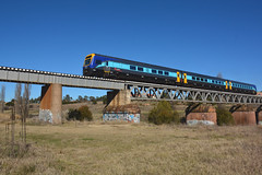 Xplorer over the Queanbeyan River. (JungleJack22) Tags: trip railroad bridge station electric set train river tren pull la die power carriage diesel country transport traction performance platform engine eisenbahn rail railway loco australia pickup run el line nsw link rails multiple locomotive canberra interstate passenger load ea treno engineer freight act appliance grunt intercity bogie kw locos unit ec countrylink queanbeyan dmu  xplorer  trainlink gunzel trane nswgr nswrailways gunzelling  gunzeller