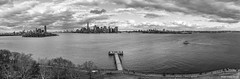 Manhattan view from Liberty island (iammxt) Tags: newyork unitedstates us sky clouds cloud nyc libertyisland river blackandwhite blackwhite