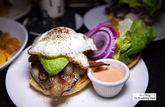 Build (My) Own Burger - Pat LaFrieda beef burger, pepper jack cheese, fried egg, avocado and applewood smoked bacon with a side of house sauce (thewanderingeater) Tags: nyc manhattan lowereastside theburgary